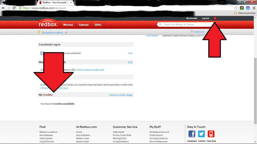 Notice two red arrows pointing to areas that show my account has credit.