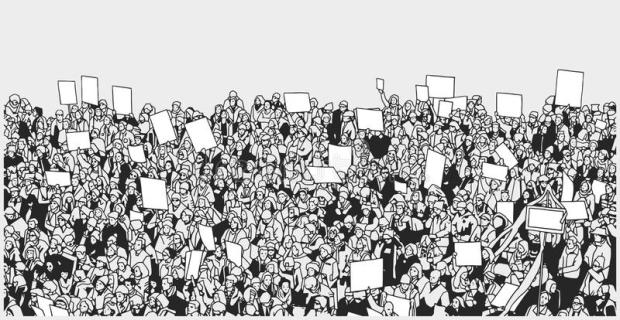 line-art-illustration-crowd-protest-blank-signs-stylized-massive-high-angle-view-92533827